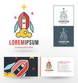 Logo Template Line Art Rocket Symbol Start Up vector image