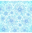 Blue colors romantic flourish seamless pattern vector image
