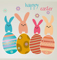 easter holiday - rabbits and easter eggs vector image