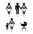 Pregnant woman icons set vector image