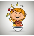 girl plate fruit vegetables vector image