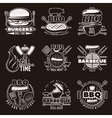 Monochrome Barbecue Emblems Set vector image