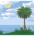 Tropical island with palm and flowers vector image