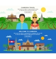 Cambodian Culture 2 Horizontal Banners Set vector image
