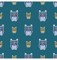 Green and blue sticker-like owls seamless pattern vector image
