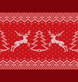 knitted christmas texture with deers christmas vector image