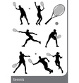 tennis silhouette set isolated vector image