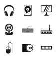 Computer data icons set simple style vector image vector image