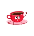 Funny black coffee cup character giving thumb up vector image