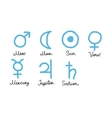 Astrology symbols of the planets sketch for your vector image