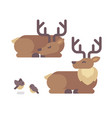 deer lying down flat santa claus reindeer vector image
