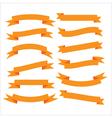 Set of beautiful festive orange ribbons vector image