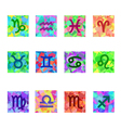 Zodiac Colorful Horoscope Square Icons with zodiac vector image