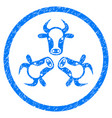 cow trinity rounded grainy icon vector image
