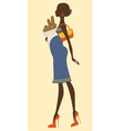 Chic preggy shopping for groceries vector image