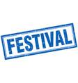 Festival blue grunge square stamp on white vector image