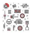 Set of auto spare parts isolated on white vector image