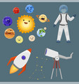 astronaut space landing planets spaceship solar vector image
