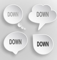 Down White flat buttons on gray background vector image