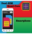 Dual SIM smartphone with quad-core processor vector image