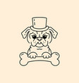 pug gentleman cartoon pug-dog cute dog in the hat vector image