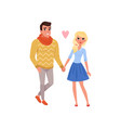 young man and blonde beautiful woman characters vector image