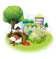 A doghouse with a dog inside a fence vector image