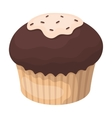 Chocolate cupcake icon in cartoon style isolated vector image