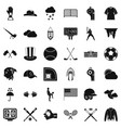 baseball field icons set simple style vector image