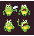 Cute cartoon monster character in different poses vector image