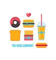 fast food icons hamburger hot dog french fries vector image