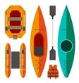 Kayak and raft boats vector image