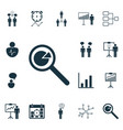 set of 16 executive icons includes co-working vector image