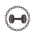 border with chain inside a disc weights vector image