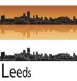 Leeds skyline in orange background vector image vector image