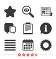 star and menu list signs checklist gear vector image