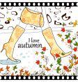 I love autumn background vector image