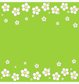 Seamless white floral pattern on a green backgroun vector image