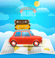 Vacation concept Summer holidays with the red car vector image vector image