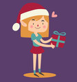 Cartoon Elf Holding a Wrapped Git Box vector image