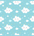 Cloud character with stars seamless pattern vector image