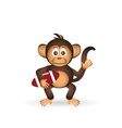 cute chimpanzee with us football ball sport little vector image