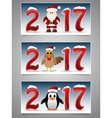 Happy New Year banner set with Santa Claus vector image