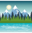 landscape mountain pine tree design vector image