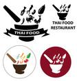 set of thai food restaurant logo vector image