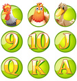 Animals and letters on round badges vector image vector image
