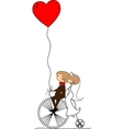Wedding Couple on a Bicycle Drawing vector image