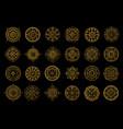 golden mandalas on black background boho style vector image