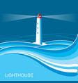 lighthousesea waves blue night background for vector image