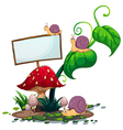 An empty signboard near the mushrooms vector image vector image